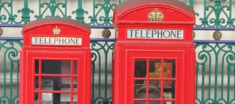 Two red telephone booths.