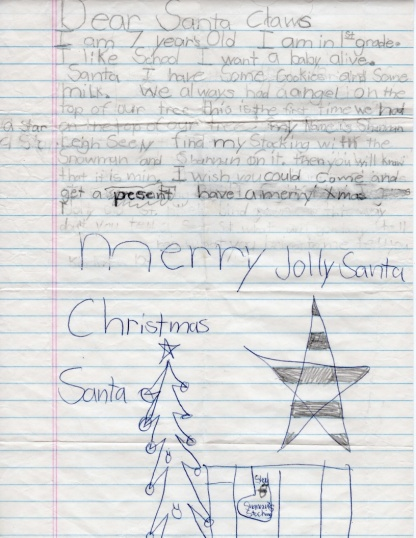 A seven year old girl's letter to Santa