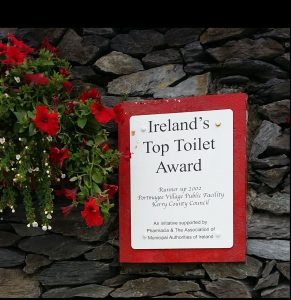 Just like the welcoming Irish people, everywhere you go, there are signs where to find the nearest award-winning toilet. Portmagee, County Kerry.